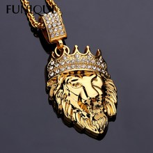 Fashion Gold Color Lion Head Crown King Necklaces & Pendants For Women Men Jewelry Stainless Steel HipHop Rhinestones Jewelry