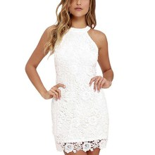 Buy Sexy Women Elegant White Lace Embroidery Halter Neck Sleeveless Dress Slim Retro Lady Wedding Party Night Club Dresses