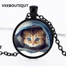 2017 Fashion Cute Cat Glass Pendant Necklace Fashion Women and Men Necklace