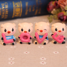 Mini Brief Modern Love Polyresin Figurine Wedding Cake Toppers Resin Pig Decor Doll Gift(China)