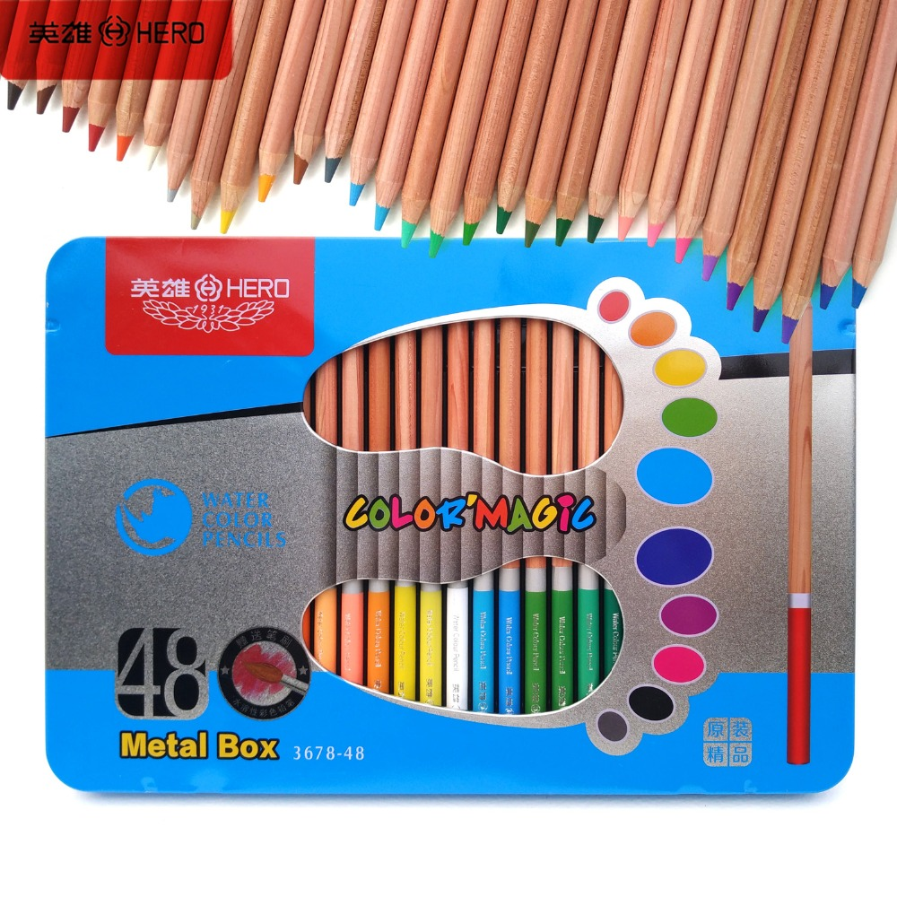 Artist Paint Color Pencil School 48 Watercolor Hero lapices de colores profesionales Drawing Colored Pencils Set Colorful Gift<br><br>Aliexpress