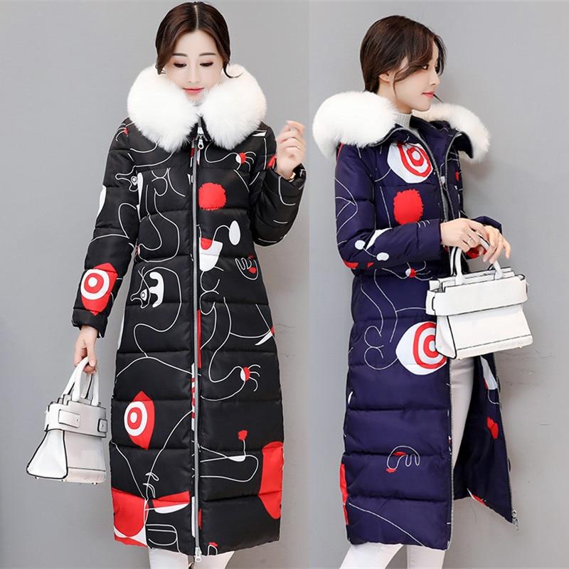 HZF Winter Coat Women 2017 New Plus Size Long Parkas Coat Female Printed Fur Collar Hooded Thick Warm Winter Jackets OuterwearÎäåæäà è àêñåññóàðû<br><br>