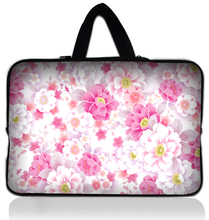 "13"" Pink Flower Neoprene Soft Laptop Netbook Sleeve Bag Case Cover +Hide Handle For Macbook Pro 13.3 Inch for HP Dell Sony Acer(China)"