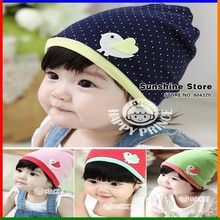 Birds hat baby with chickens tag/label polka dot beanies bone patterns cap Spring chapeu infantil #2C2667 10 pcs/lot(4 colors)(China)