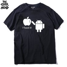 THE COOLMIND 100% Cotton Men T Shirts Android Robot Male T-Shirt Apple Humor Logo Printed Funny T Shirt Short Sleeve Tee Shirts