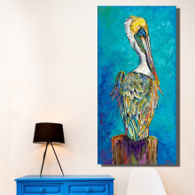 QKART Home Decor Wall Art Blue Animal Oil Painting On Canvas Picture Wall Paintings for Living Room Posters and Prints(China)
