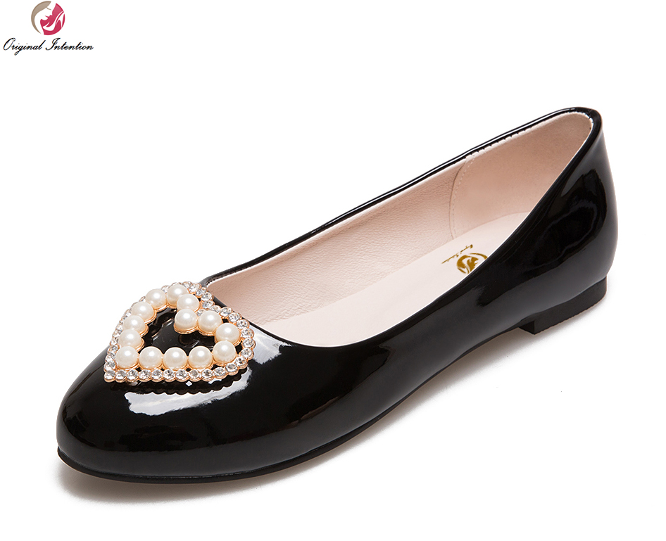 Original Intention Women Flats Nice Round Toe Flats Black White Beige Gold Silver Pink Red Blue Shoes Woman Plus Size 3.5-20<br>