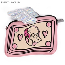 New Cartoon Women Messenger Bag Hologram Pink Bag Wings Clutch Purse Leather Mini Handbags Chain Crossbody Shoulder Bag(China)