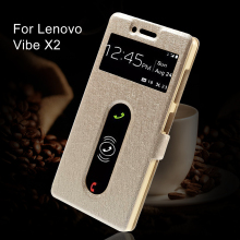 For Lenovo Vibe X2 X 2 Case Silk Texture Dual View Windows PU Leather Stand Case Cover Smartphone Protect Fundas Coque Gold