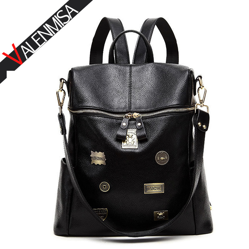 VALENMISA Brand Badge Genuine Leather Backpack WomenS Large Backpacks For Teenage Girls Causal Daypack School Bags Dollar Price<br>