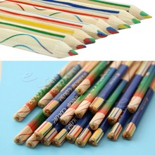 8pcs/Lot Rainbow Color Pencil 4 in 1 Colored Drawing Painting Pencils #H0VH#(China)