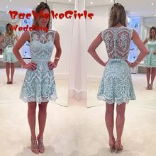 Prom 2016 New Short High Neck Lace Applique Sky Blue See Through Knee Length Evening Dress Party Gown