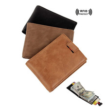 Rfid Blocking Wallet for Credit Cards Holder Money Bag with Metal Clip Pull designer id Card Protector Genuine Leather Card Case