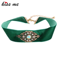 KISS ME New Wide Green Velvet Choker Necklace Crystal Geometric Punk Vintage Jewelry Women Bijoux(China)