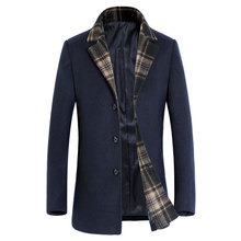 Brand 2017 Hot Sell Autumn Winter Men Wool Coat Fashion Navy Wool Cashmere Blend Coat High Quality Warm Wool & Blends