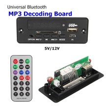 LEORY Mini MP3 Decoder Board 5V 12V Bluetooth USB UDisk TFCard Jack With Remote Control Wire Speaker Audio Board Amplifier Car(China)