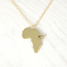 2017 fashion great land Africa Map Pendant choker necklace with Heart for women girls charm popular gift jewelry