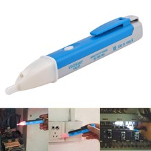 LED Light  AC Voltage Detector Tester Pen LED Electric Socket Wall AC Power Outlet Sensor Pen Indicator with Sound 90-1000V Bule