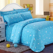 Single Double King Size Cotton Blend Bed Set Blue Star Moon Bedding Sets Pillowcases Bedsheet Bedclothes Quilt Duvet Cover