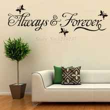 DCTOP Art Design Butterflies Wall Stickers Always And Forever Removable Vinyl Home Decals For Living Room Decorations