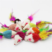 Furry Mouse Cat Kitten Real Fur Gravel Sounds Cute Toy Faux Mice Cat Toys Aug8 Professional Factory price Drop Shipping(China)
