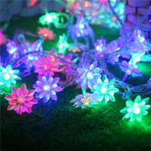 5M 50pcs Lotus Flowers Led String Garland light Battery Powered Fairy Christmas String Light For Wedding Holiday Party Garden