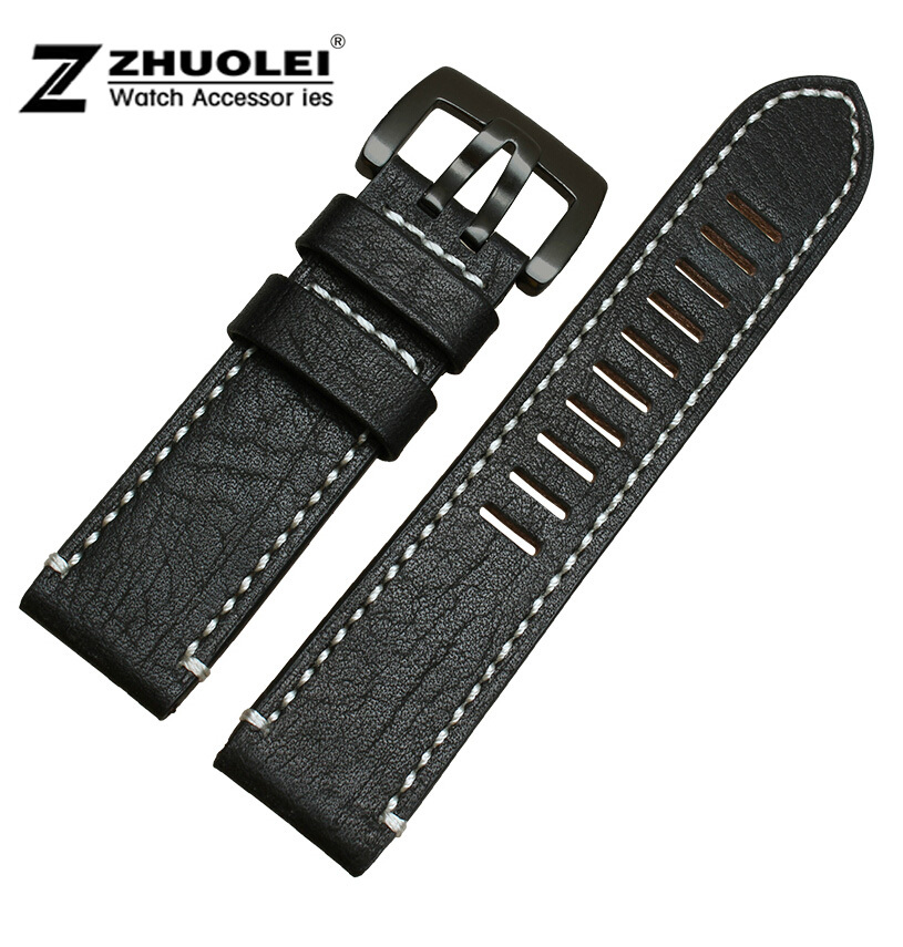NEW 23mm High Quality Black Smooth Genuine Leather Watch Bands Strap Bracelets Black Brushed Deployment Clasp Buckle<br><br>Aliexpress