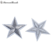 DoreenBeads 10 PCs Polyester Patches Appliques DIY Scrapbooking Craft Pentagram Star Silver Appareal Clothes Sewing