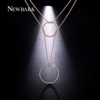 NEWBARK Élégant Double Couches Collier Avec Un Cercle D'amitié Pendentif Sur Chaque Chaîne Pave Brillant CZ Diamant Pour Les Femmes Bijoux
