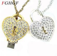 FGHGF crystal love Heart Lock Design Necklace Model usb flash drive 4GB 8GB 16GB 32GB usb 2.0 memory stick pendrive gift(China)