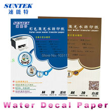 (10 Clear + 10 White) Laser Screen Printing Transfer Paper Type Water Slide decal Ceramic Paper(China)