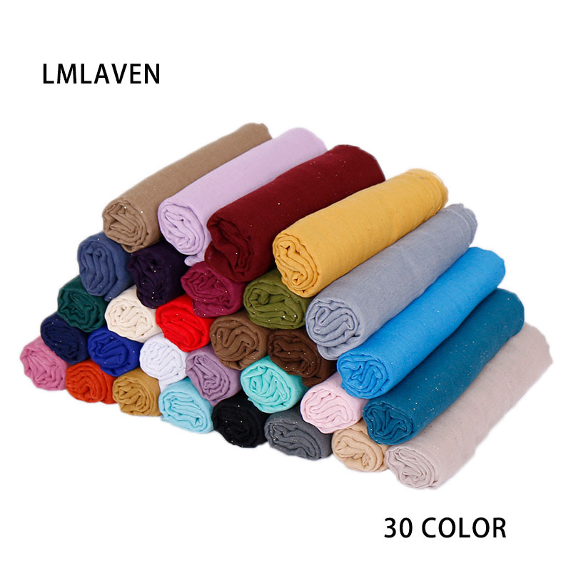 LMLAVEN women glitter scarves solid color scarf viscose muslim hijab shimmer scarves fashion head wrap maxi shawl 30 color