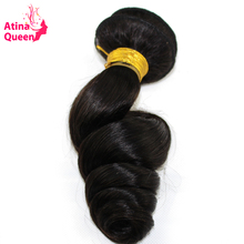 "Atina Queen Indian Virgin Hair Loose Wave Natural Color 10""-30"" Unprocessed Indian Curly Human Hair Weave Bundles Free Shipping"