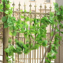 Long Artificial Plants Green Ivy Leaves Artificial Grape Vine Fake Foliage Leaves Home Wedding Decoration 5x branch 220cm(China)
