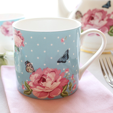 High Quality England Style Pastoral Dot Floral bone china coffee mugs cup with handgrip ceramic drinkware milk tea cup mug 400ML
