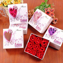 Rose Flower Soap Bathing soap Wedding Rose Petals With Gift Box Mother's Day Valentine's Day Romantic Gift Handmade(China)