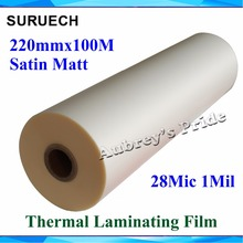 "1 PC 28Mic 220mmx100M 1Mil Matt Satin 1"" Core Hot Laminating Films Bopp for Hot Roll Laminator(China)"