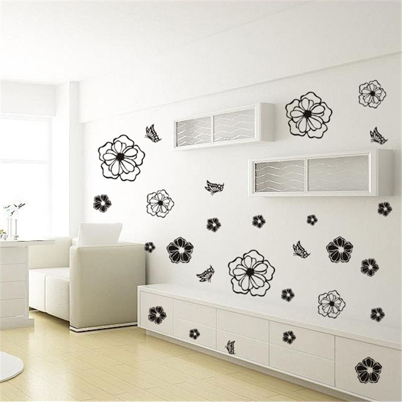 Black Flower Wall Sticker DIY Art Nursery Stickers Kids Rooms Wall Decals Home Decor Wall Decoration 1 sheet 30*30cm(China (Mainland))