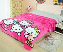 HOT Deep Pink Hello Kitty Print Blankets Throw Bedding 150*200CM Size Baby Girls Children's Bed Home Bedroom Decoration Flannel