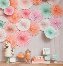 6pcs Folding Fan Flower Fashion Colorful Handcraft Paper Fan Rosettes Kid's Birthday Party Supplies Home Wedding Shower Backdrop