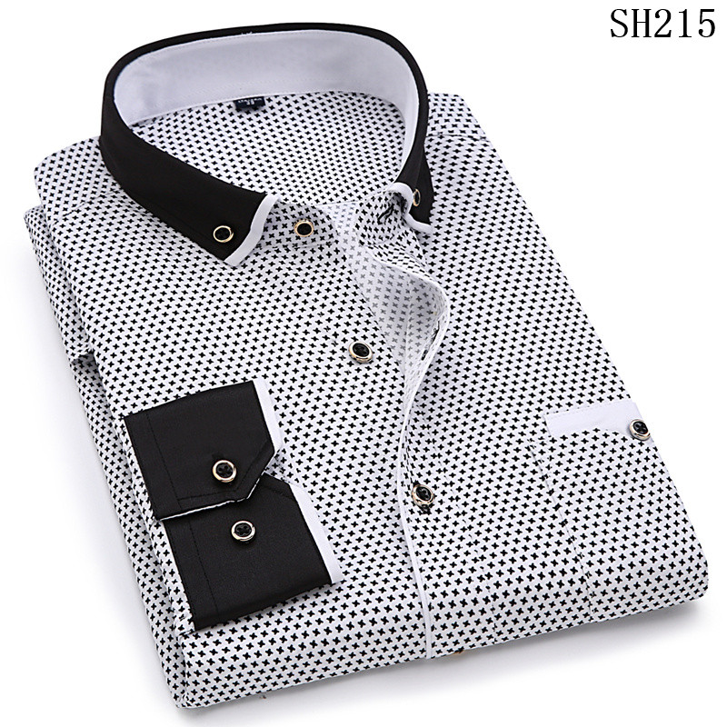 19 Men Fashion Casual Long Sleeved Printed shirt Slim Fit Male Social Business Dress Shirt Brand Men Clothing Soft Comfortable 5