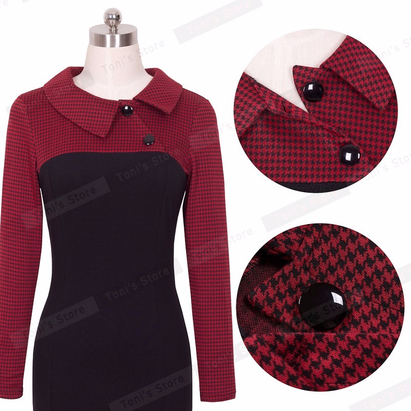 Nice-forever Elegant Vintage Fitted winter dress full Sleeve Patchwork Turn-down Collar Button Business Sheath Pencil Dress b238 30
