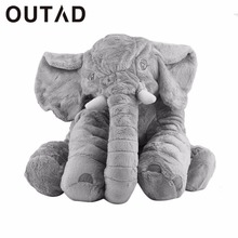 OUTAD flannel+cotton Children Kids elephant pillow Doll Toys Sleep Bed Car Seat Cushion Bedroom Home decorative animal pillows
