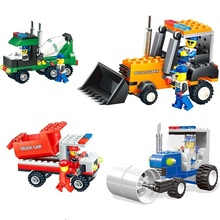 Hot Enlighten educational toy Bulldozer truck car roller cement mixers building blocks children DIY toys playmobile gift sty221i