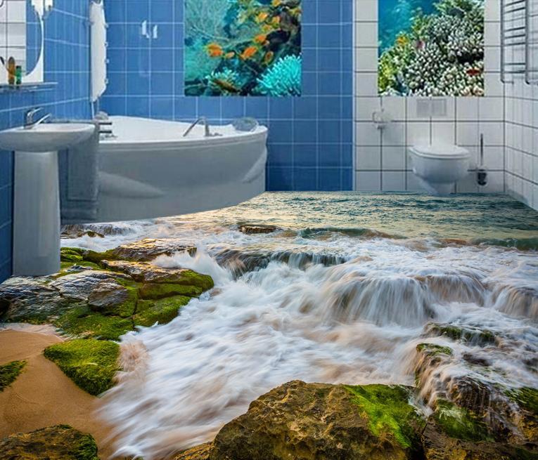 3d floor custom wallpaper rolls Stone Coast waves 3d flooring pvc wallpaper bedroom waterproof self adhesive vinyl wallpaper<br><br>Aliexpress