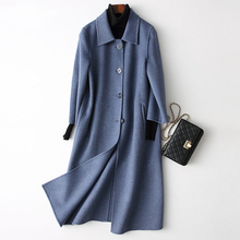 Spring Autumn Women's Long Style Woolen Coat Lapel Pure Wool cloak wc0003(China)