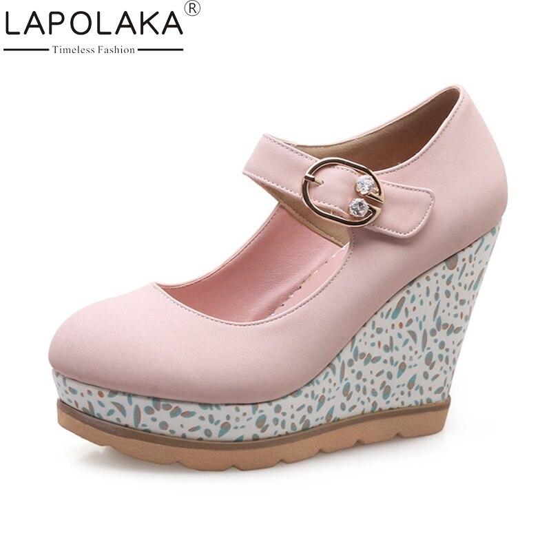 LAPOLAKA Womens Mary Jane Buckle Belt Strap High Heel Wedges Party Wedding Shoes Woman 2018 Platform Pumps Big Size 33-42<br>