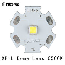 5pcs Cree XLamp XP-L XPL V5 U6 V6 Dome Lens Cold White 6500K 10W LED Emitter Chip Blub Lamp Light with 20MM PCB Heatsink(China)