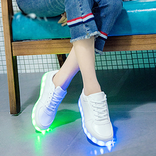 Eur27-40 // kids shoes children with led light up sneakers for girls&boys USB illuminated krasovki luminous sneakers glowing