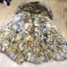 Real Red Fox Fur Luxury Fur Parka For MRMRS Wear,Army Green Top Fully Red Fox Lined Warm Winter Fur Pakra With Hoodies